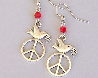 Peace sign earrings with bird, 1960 hippie earrings, flower child, love, peace with bird, peace symbol