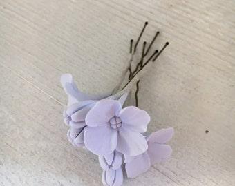 Hairpins with hydrangeas polymer clay set 3 PCs. clay flowers wedding flower girl