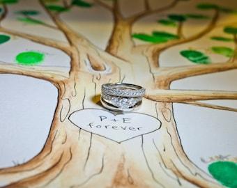 Wedding Guestbook Tree. Original thumb print Water Color Illustration- Custumize