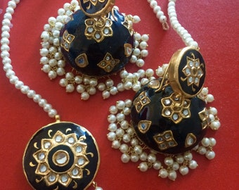 Indian Jewelry bridal  Meenakari jhumka Earrings tika tikka gota flower Jewelry Pakistani jewellery Kundan