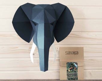 Elephant head papercraft KIT, animal sculpture, gift for men, wall decor, Faux taxidermy, Living room decor, Gift for boyfriend, nerd gift
