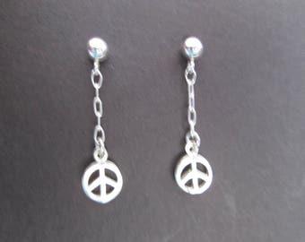 Dainty peace sign earrings- sterling silver post dangles