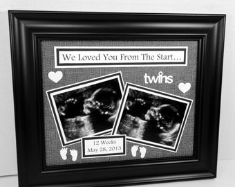 Twins Ultrasound Sonogram Frame - I/We Loved You From The Start - Personalized Baby Frame - 8x10 Deluxe Frame Included