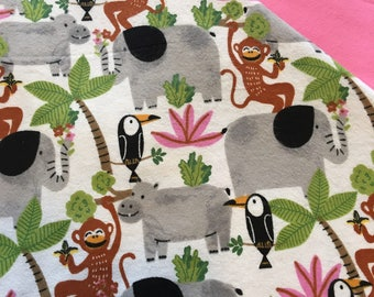 Baby Car Seat Canopy COVER or NURSING Cover: Elephants and Jungle Animals on Cream with Pink Flannel, Personalization Available