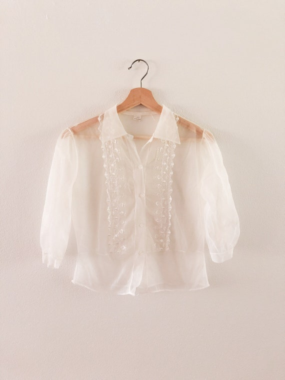 Vintage 1960s Sheer Embroidered Cop Top // S