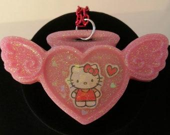 Pink Kawaii Kitty Angel Necklace