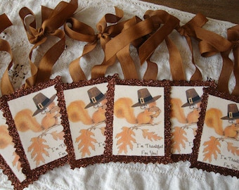 Thankful gift tags squirrels Fall tag ornaments party favors package ties vintage Thanksgiving glittered tags hostess gift for Fall
