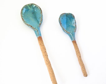 Ceramic Spoons Home Decor Handmade turquoise Glaze - pair of spoons