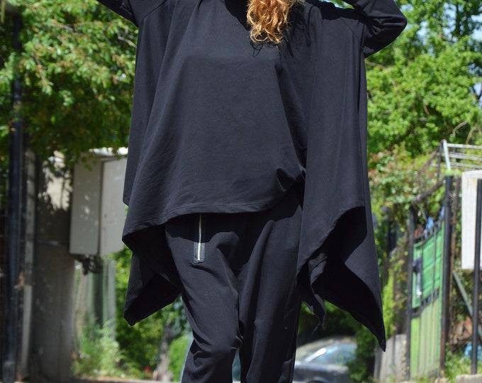 Black Extravagant Handmade Set, Women Elegant Maxi Set, Drop Crotch Pants, Cotton Casual Sweatshirt by SSDfashion