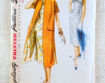 Vintage Pattern Simplicity 1638 shelf bust dress sewing Dress wiggle 1960s Bust 30 short sleeve Belted bow