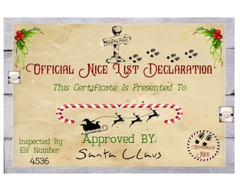Nice List Certificate - Santa Claus Certificate - Certificate From Father Christmas - New Years Eve Box Certificate - Digital Download