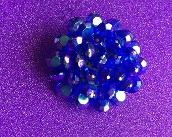 Large Vintage Blue Aurora Borealis Cluster Brooch