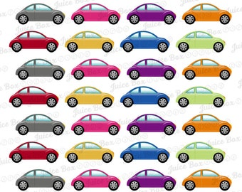 Set of 40 Multicolored Cars Stickers for Various Planners, Calendars, Journals