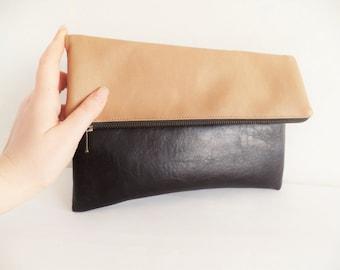 Leather clutch purse, colorblock leather clutch, zippered clutch, vegan leather, fold over clutch, brown, beige clutch purse