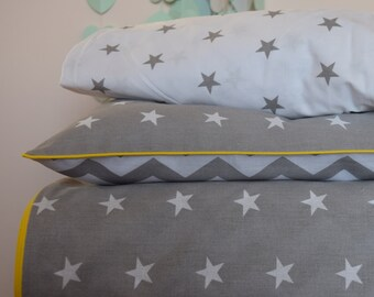 pure COTTON Cot Bed Duvet Cover Set & Fitted Sheet Grey Chevron Starss with yellow piping nursery