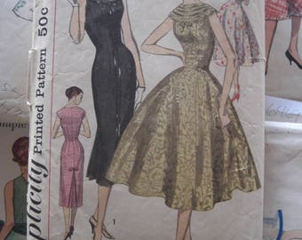 Vintage Sewing Pattern 1950 Full Skirted Dress Fitted Bodice Slim Wiggle Dress