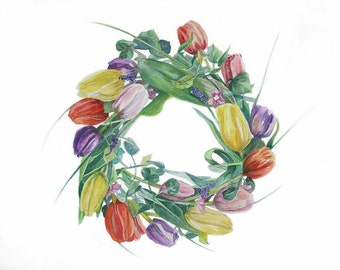 Tulip Watercolor Painting- Wreath- Flowers- Colorful Wreath- Red, Yellow, Green- 11x14- Circle of Flowers