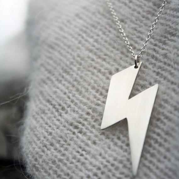 Lightning Bolt Necklace ACDC Necklace Lightning Flash Jewelry