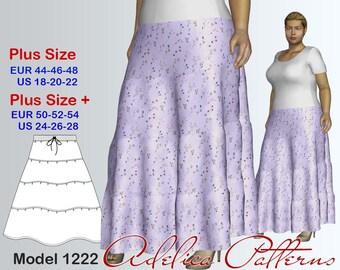 Plus size Ruffled Skirt Sewing Pattern PDF, Women's sizes 18-28, Plus size Skirt PDF Instant Download Sewing Pattern, Skirt Sewing Pattern