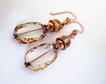 Copper and Glass Wire-wrapped Drop Earrings