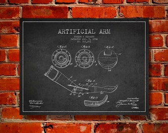 1904 Artificial Arm Patent Canvas Art Print, Wall Art, Home Decor, Gift Idea