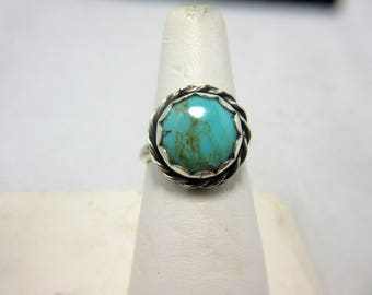 Turquoise Ring Size 7 1/2 Sterling Silver Handmade Ring Turquoise Cabochon December Birthstone Sagittarius Turquoise Jewelry Boho Ring #261