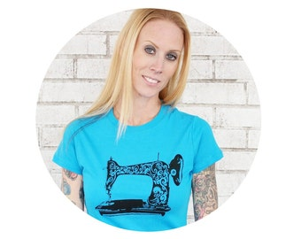 Sewing Machine T Shirt, Women, Woman, Ladies Cotton Crewneck Tshirt, Graphic Tee, Turquoise Blue, Short Sleeved, Hand Printed Super Soft