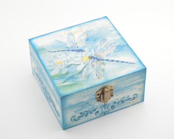Wooden jewelry box decoupage box jewelry box shabby chic