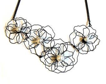 Flower outline necklace| Black flower necklace | Black necklace | flower statement necklace | bridesmaid necklace | floral necklace for her