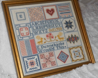 COMPLETED Framed Cross Stitch ENTRY in CONTEST 1988 1989 Gorgeous cross stitched Sampler Sitch of Month Sampler Heirloom Quality