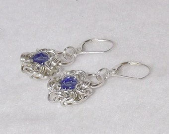 Elegant Chainmaille Sterlling Silver Earrings with Blue Sapphire Swarovski Crystals - CME6