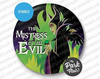 "3"" Maleficent Sleeping Beauty Sparkle finish  disney button"