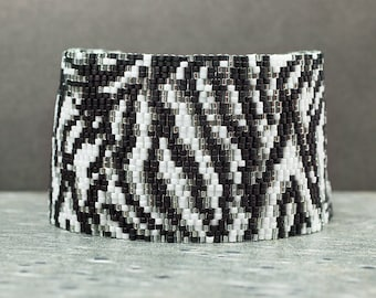 Beaded Bracelet, Cuff Bracelet, Silver, Black, Zebra Print, Peyote Bracelet, Beaded Jewelry, Seed Bead Jewelry, Gift for Her