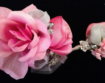 Pink and Gray Corsage Boutonniere Set