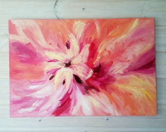 """Pink oil painting on canvas 16x20"""", 40x50cm / ready to hang / bright pink flower"""