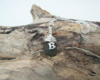 Personalised 'B' Charm Cornish Mermaids Tear Necklace ~ Green ~ Sterling Silver ~ Cornwall