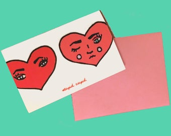 Stupid Cupid Hearts Valentine's Day Card