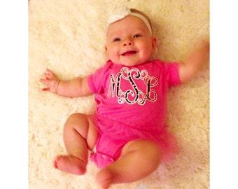Fancy Vine Applique Monogram Baby Girl Tutu Bodysuit / Short Sleeve Hot Pink or White