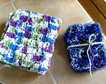 Handmade Dish Cloth and Dish Scrubby Set, Housewarming Gift, Wash Clothes, Pan Scrubbers, Set of 2 Dish Clothes and Set of 3 Scrubbies.