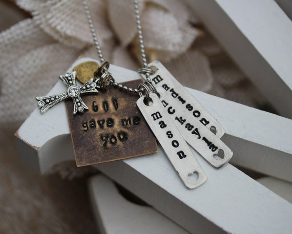 hand stamped necklace personalized charm necklace hand
