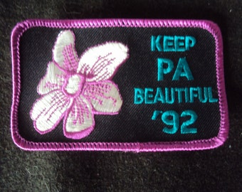 Vintage Keep PA Beautiful 1992 Sew On Patch