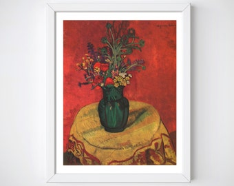 Floral Red Painting, French Art, Flower Paintings, Flower Print Wallart, French Vintage Print, Housewarming Gifts, Livingroom Decor,