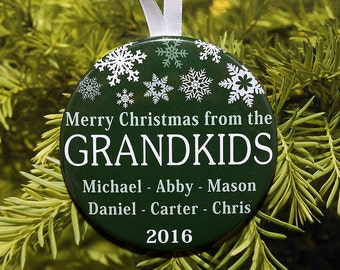 Merry Christmas From The Grandkids Ornament - Personalized with names and year - 5 color choices - C152