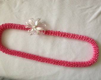 Pink Rick-Rack Lei with Bow