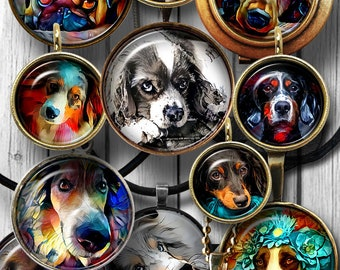 Dog Painting Digital Collage Sheets Printable Downloads Mini Bottle Caps Pendants Glass Cabochon 20mm, 18mm, 16mm, 14mm, 12mm Circles JC-149