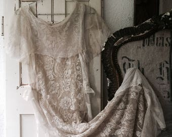 Stunning Wedding dress antique ,france ,brocante ,ca 1910