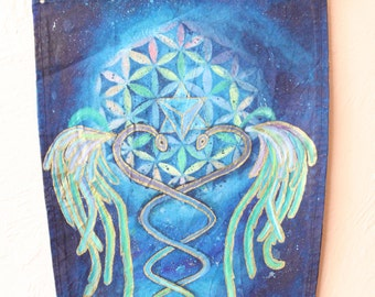 visionary art medicine shield rainbow serpants sacredgeometree