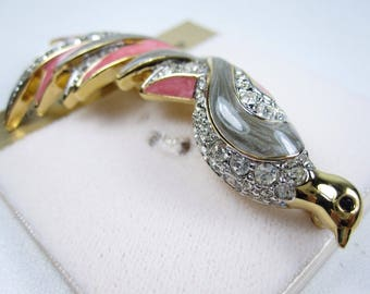 DOrlan Gold Plated Bird Brooch with Swarovski Crystals and Enamel 0514