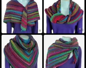 Beach Shawl, Large Hippie Shawl, Boho Shawl, Oversized Scarf, Crochet Shawl Pattern, Gift-For-Her
