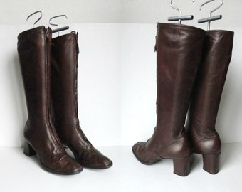 Brown 60s Leather GoGo Boots With Zipper In Front // Bally Boots // Size 39 // Made In Switzerland